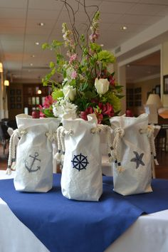 beach wedding favor bag nautical theme.  If you want the best officiant for your Outer Banks, NC, ceremony, contact Rev. Barbara Mulford: myobxofficiant.com/