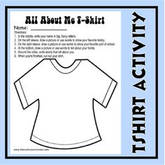 Back to School All About Me T-Shirt Activity - These are great to display on a clothesline for open house!