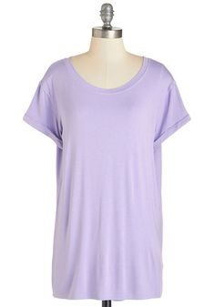 Simplicity on a Saturday Top in Lavender. Whoever said jeans and a tee couldnt look completely cute has clearly never encountered a gal wearing this lavender T-shirt! #gold #prom #modcloth