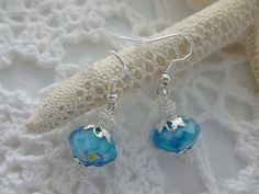 Blue Lampwork Dangle Earrings by CaseyRoseCollection on Etsy, $9.00