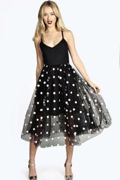 Boutique Leah Polka Dot Tulle Midi Dress