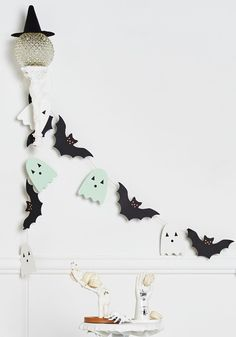 Make the Ghost of It DIY Garland Kit - Multi, White, Halloween, Good, Black, Orange, Green, Multi, Novelty Print, Other Print, Fall, Hostess, Handmade & DIY, Quirky, Critters, Dorm Decor