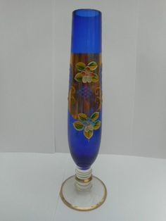 "BOHEMIAN CZECH VENETIAN COBALT BLUE GLASS BUD VASE 8"""