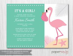 Marvelous COLOR OPTIONS Flamingo Baby Shower Invitation   Boy Or Girl   Customizable  Colors U0026 Information  Digital File   Item 150
