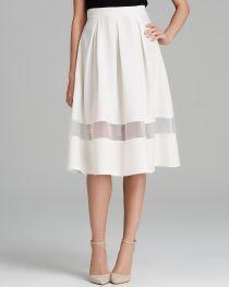 AQUA Skirt - Sheer Inset Midi | Bloomingdale's
