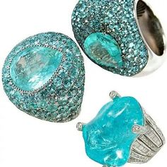 Paraiba tourmalines. Look at that neon turquoise, the color of pure luxury, it reminds me of the turquoise and gold jewelry Egyptian royalty wore, and exotic destinations..
