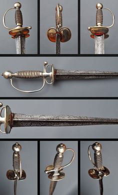 French Silver Colichemarde Sword.      Dated: 18th century.