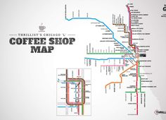 """Thrillist made a Chicago """"L"""" coffee map. So many good coffee shops in Chicago. Chicago Things To Do, Moving To Chicago, Chicago Travel, Chicago Trip, Chicago Tours, Chicago Lake, Chicago Coffee Shops, Coffee Delivery, Best Coffee Shop"""