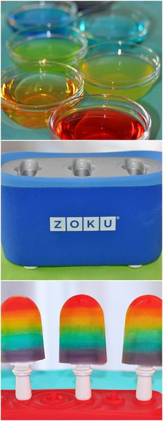 Rainbow Freezer Pops #zoku