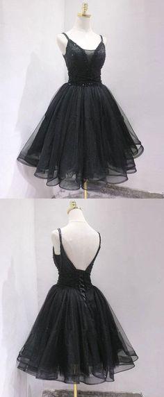 Fashion Black Tulle Short Homecoming Dress, Straps Open Back Party Dress Homecoming Dresses Straps, Elegant Homecoming Dresses, Black Prom Dresses, Evening Dresses, Dress Black, Dresses Short, Short Tulle Dress, Formal Dresses, Short Prom