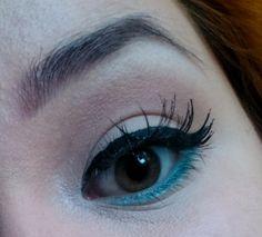 False lashes & teal liner eye makeup look / julieknowshow.blogspot.com