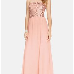 "Beautiful blush bridesmaid / evening gown Beautiful Ralph Lauren blush chiffon bridesmaid/ evening gown... Bodice has beautiful gold sequins ... Very stunning dress very flowy... It was altered to my height which is 5""3 ... If there are any questions please ask  Ralph Lauren Dresses"