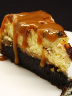 Brownie Caramel Cheesecake  - 9 oz. package Brownie mix (plus ingredients indicated on the back of the package)  - 1 package (24 oz) caramels  - 1 (5 oz) can of evaporated milk  - 3 (8 oz) packages cream cheese  - 3/4 cup of sugar  - 3 eggs  - 2 tsp vanilla ---- OH BOY OH BOY OH BOY!!!