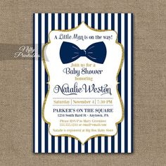 Elegant navy blue and gold glitter baby shower invitation with a chunky blue bow tie. Find matching Baby Shower items here: https://www.etsy.com/shop/NiftyPrintables/search?search_query=NGG+baby This listing is for one customized invitation in digital form, 5x7. Print them at home or send them to a printer, its all good! You Choose: ▪ JPG (for online printers & photo labs) or ▪ PDF w/ 2 per page (home printing & Staples, Kinkos,etc.) When checkin...