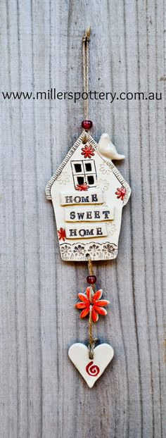 Australian handmade ceramic wall-hanging house by www.millerspottery.com