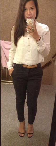 Business casual .. Chino and white blouse