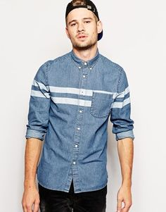 Enlarge ASOS Denim Shirt In Long Sleeve With Double Stripe