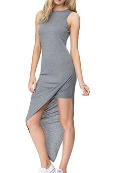 Women's Cotton Stripe Slit Side Casual Bodycon Slim Fit Sleeveless Long Dress Gray-S. Material: Cotton. Casual Slit Side Slim Fit Long Dress, perfect for beach or party. Hand Wash in Cold Please. Please choose the size carefully according to the size chart. Color disclaimer: Due to monitor settings and monitor pixel definition, we cannot guarantee the color that you see will be exact from the actual color of the product.