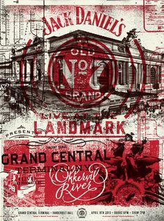 Jack Daniel's poster designed by Two Arms Inc. Rock Poster, Shirt Print Design, Old Signs, Grafik Design, Graphic Design Inspiration, Letterpress, Vintage Posters, Coca Cola, Design Art