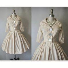 50's Shirtwaist Dress // Vintage 1950's Ecru by TheVintageStudio, $78.00