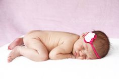 Pink, baby girl, headband, naked, cute, newborn photoshoot idea, sleeping beauty. By Rob Forsyth Photography, South Africa ( www.facebook.com/10fourPhotography )