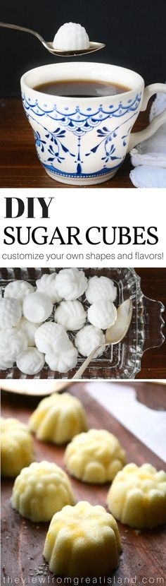 DIY Sugar Cubes ~   Moisten the sugar ever so slightly with either water, or your flavoring of choice, and then press it firmly into a plastic or silicone mold.  You can add a touch of gel paste food coloring if you like.   These fancy sugar cubes are surprisingly easy to make, and can transform morning coffee or afternoon tea into a truly memorable occasion! #tea #sugarcubes #sugar #diysugarcubes #hightea #afternoontea #mothersday #diy