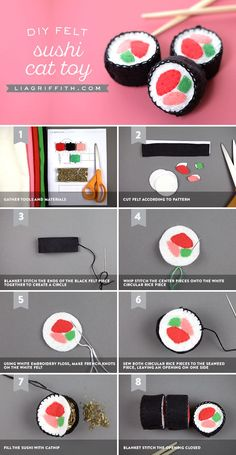 Cats Toys Ideas - Learn how to sew up some felt sushi to create play food for your little ones, or turn it into a DIY cat toy by adding catnip - Ideal toys for small cats Cat Crafts, Animal Crafts, Sewing Crafts, Sewing Projects, Sewing Toys, Diy Animal Toys, Kawaii Crafts, Food Crafts, Sewing Tutorials