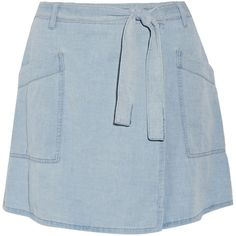 MM6 Maison Margiela Denim wrap mini skirt (3.340.200 VND) ❤ liked on Polyvore featuring skirts, mini skirts, light blue, denim miniskirt, denim skirt, denim mini skirt, short skirts and light blue mini skirt
