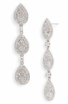 Nadri Crystal Teardrop Linear Earrings