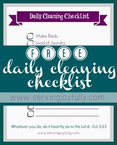 Free Printable Cleaning Checklist from Serving Joyfully