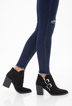 Buckled Faux Suede Booties   FOREVER 21 - 2000099730