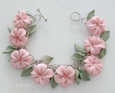 Pink Plumeria Garden Bracelet - Polymer Clay