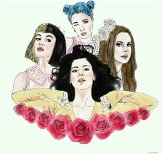 Lana Del Rey, Melanie Martinez, Marina And The Diamonds and Halsey. THIS IS THE MOST PERFECT..