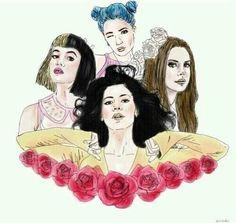 Lana Del Rey, Melanie Martinez, Marina And The Diamonds and Halsey.