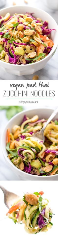 Thai Zucchini Noodle + Quinoa Salad Zucchini Noodle Pad Thai -- a simple dish that doesn't require any cooking, is totally healthy and SUPER flavorful! Pastas Recipes, Vegan Recipes Videos, Spiralizer Recipes, Vegan Recipes Easy, Vegetarian Recipes, Cooking Recipes, Free Recipes, Dinner Recipes, Quinoa Salad Recipes