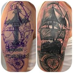 Nautical Sailing Ship and Compass coverup tattoo by Sebastian. Limited availability at Salvation Tattoo Studios. Ship Tattoo Sleeves, Forearm Sleeve Tattoos, Best Sleeve Tattoos, Tattoo Sleeve Designs, Cover Up Tattoos For Men, Tattoos For Guys, Tattoo Barco, Tennessee Tattoo, Revelation Tattoo