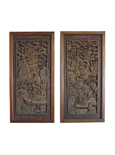 Chinese Antique Wood Carved Theme Panels