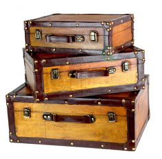 """Size: Large 18"""""""" x 13"""""""" x 7"""""""". Medium: 15"""""""" x 10.5"""""""" x 5.5"""""""". Small: 13"""""""" x 8.5"""""""" x 4.5"""""""" Decorative suitcase trunk that is great for storage and decoration Material: Polywood Faux Leather Old Fashion"""