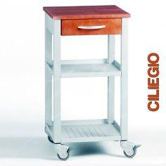 Carrello da Cucina con cassetto e due ripiani top di faggio e struttura in acciaio color alluminio MAITRE