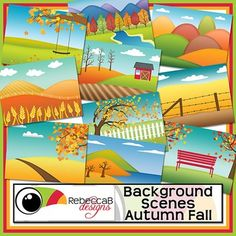Background Scenes Autumn Fall contains 10 colored and 10 black and white background scenes for your products. Simply place your text and clip art over the background scene. Create product covers, posters, dioramas, worksheets, activities and other teaching resources.