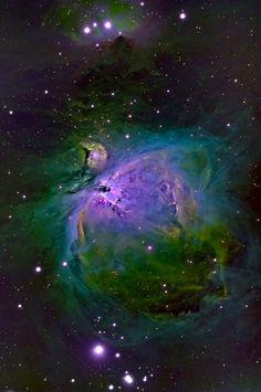 Orion's Sword nebular complex in emission line false-color. By notveryleet
