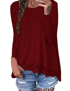 ISASSY Women s Loose Casual Lace Crochet Long Sleeve Tops T-Shirts Blouse  Pullover  Amazon.co.uk  Clothing 382d3d8a7c5a