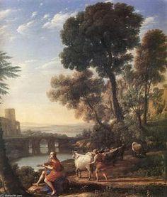 Paysage avec Apollo Guarding the troupeaux d Admète - (Claude Lorrain)