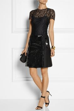 croc-effect patent leather skirt <3