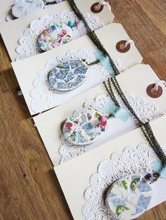 Pretty way to display necklaces for sale.  By my friend Heather at Bee Vintage Redux on Etsy.