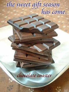 【板チョコ*コースター】2枚セットです。かけらマグネットが1個付いて来ます。