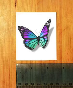 3D Stain Glass Butterfly Temporary Tattoo looks by TattooMint