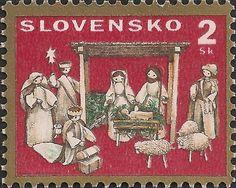 スロヴァキアのクリスマス切手。東方三博士の礼拝かしらん?