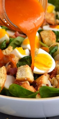 This Bacon Spinach Salad 🥗 is a family favorite recipe with the BEST dressing! I hope it becomes a favorite in your family too! Bacon Spinach Salad, Spinach Salad Recipes, Vegetable Recipes, High Protein Vegetarian Recipes, Healthy Dinner Recipes, Cooking Recipes, Bacon Recipes, Healthy Brunch, Healthy Recipe Videos