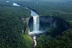 world's largest waterfall: Kaieteur Falls,  Potaro River in central Guyana • 226m (741') high (largest in volume of water, not height of fall, as multi cascades add up to 251m  (822') • http://en.wikipedia.org/wiki/Kaieteur_Falls